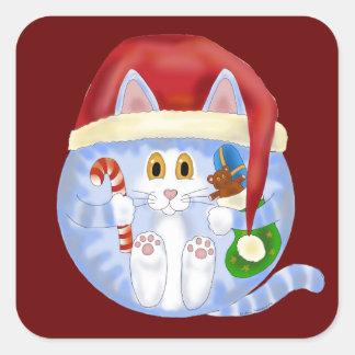 Navidad del gato de la chuchería pegatina cuadrada