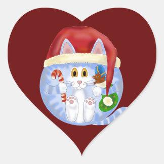Navidad del gato de la chuchería pegatina en forma de corazón