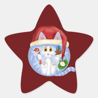 Navidad del gato de la chuchería pegatina en forma de estrella