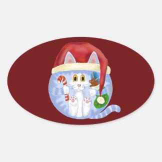Navidad del gato de la chuchería pegatina ovalada