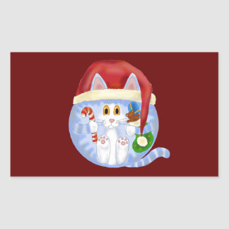 Navidad del gato de la chuchería pegatina rectangular