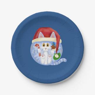 Navidad del gato de la chuchería platos de papel