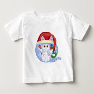 Navidad del gato de la chuchería playera de bebé