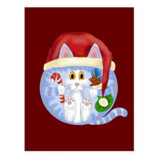 Navidad del gato de la chuchería postales