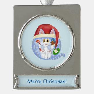 Navidad del gato de la chuchería rótulos de adorno plateado