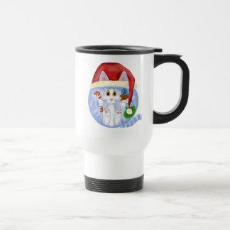 Navidad del gato de la chuchería taza de viaje