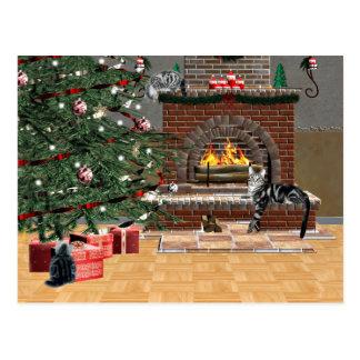 Navidad del gato de Tabby Postal