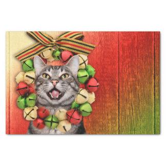 Navidad del gato del gatito del Tabby Papel De Seda Pequeño