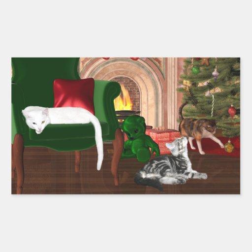 Navidad del gato del gatito pegatina