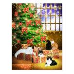 Navidad del gato del gatito postal