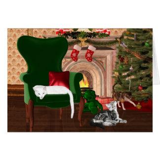 Navidad del gato del gatito tarjeta de felicitación