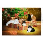 Navidad del gato del gatito tarjeta