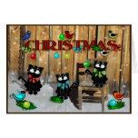 Navidad del gato del granero tarjetón