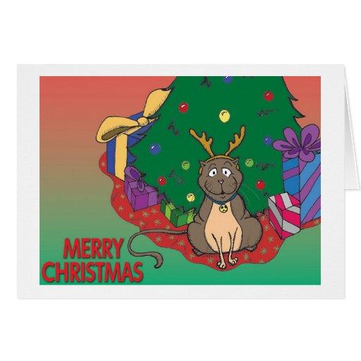 Navidad del gato del reno tarjeta de felicitación