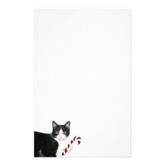 Navidad del gato del smoking papelería personalizada