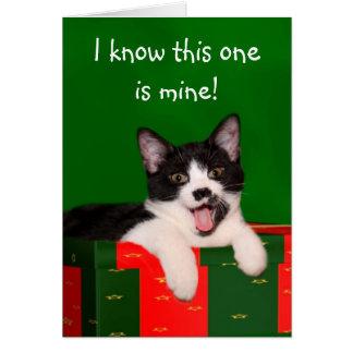 Navidad del gato del smoking tarjeta de felicitación