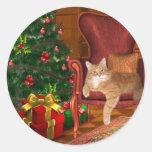 Navidad del gato etiquetas redondas
