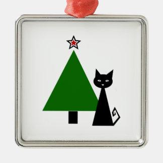 Navidad del gato negro adorno navideño cuadrado de metal