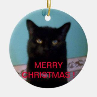 Navidad del gato negro adorno navideño redondo de cerámica