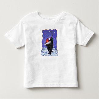 Navidad del gato negro de la noche estrellada playera de bebé