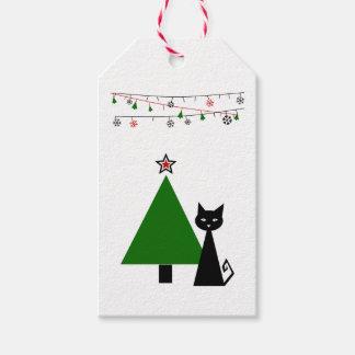 Navidad del gato negro etiquetas para regalos
