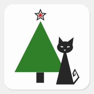 Navidad del gato negro pegatina cuadrada