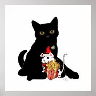 Navidad del gato negro póster