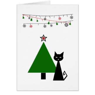 Navidad del gato negro tarjeta pequeña