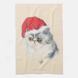Navidad del gato toalla de cocina