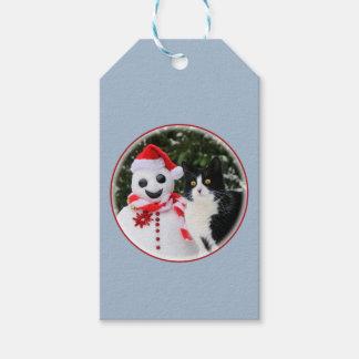 Navidad del gato y del muñeco de nieve de Santa Etiquetas Para Regalos
