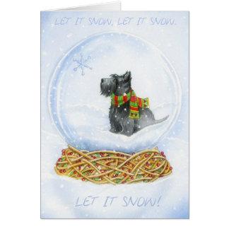 Navidad del globo de la nieve del escocés tarjeta de felicitación