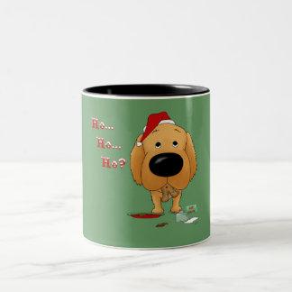 Navidad del golden retriever tazas
