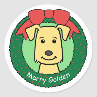 Navidad del golden retriever pegatina redonda