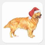 Navidad del golden retriever pegatinas cuadradas