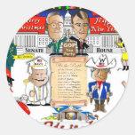 Navidad del GOP y de la fiesta del té Pegatina Redonda