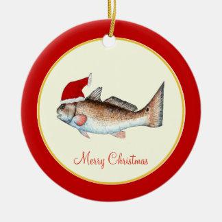 Navidad del gorra de Santa de los salmones rojo Adorno Navideño Redondo De Cerámica