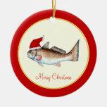 Navidad del gorra de Santa de los salmones rojo Adorno Redondo De Cerámica