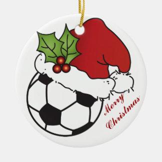Navidad del gorra de Santa del balón de fútbol Adorno Navideño Redondo De Cerámica