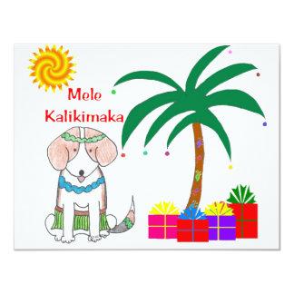 """Navidad del Hawaiian del beagle Invitación 4.25"""" X 5.5"""""""