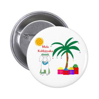 Navidad del Hawaiian del caniche Pin Redondo De 2 Pulgadas