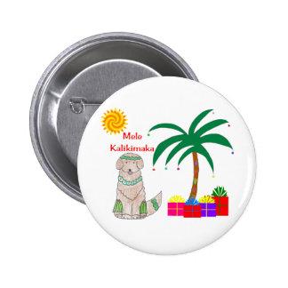 Navidad del Hawaiian del golden retriever Pin Redondo De 2 Pulgadas