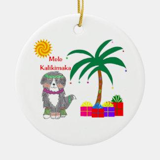 Navidad del Hawaiian del perro de Bernese Mtn Adorno