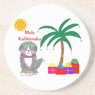 Navidad del Hawaiian del perro de Bernese Mtn Posavasos Cerveza