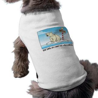 Navidad del hielo del oso polar playera sin mangas para perro