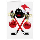 Navidad del hockey tarjeta