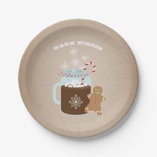 Navidad del hombre de pan de jengibre del plato de papel de 7 pulgadas