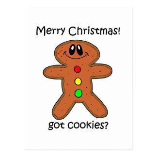 navidad del hombre de pan de jengibre tarjetas postales