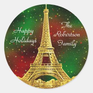 Navidad del horizonte #2 de París del oro Pegatina Redonda