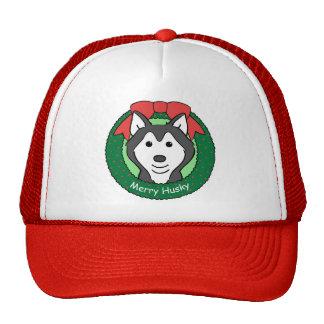 Navidad del husky siberiano gorras de camionero