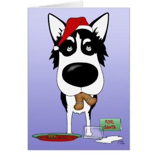 Navidad del husky siberiano tarjeta de felicitación